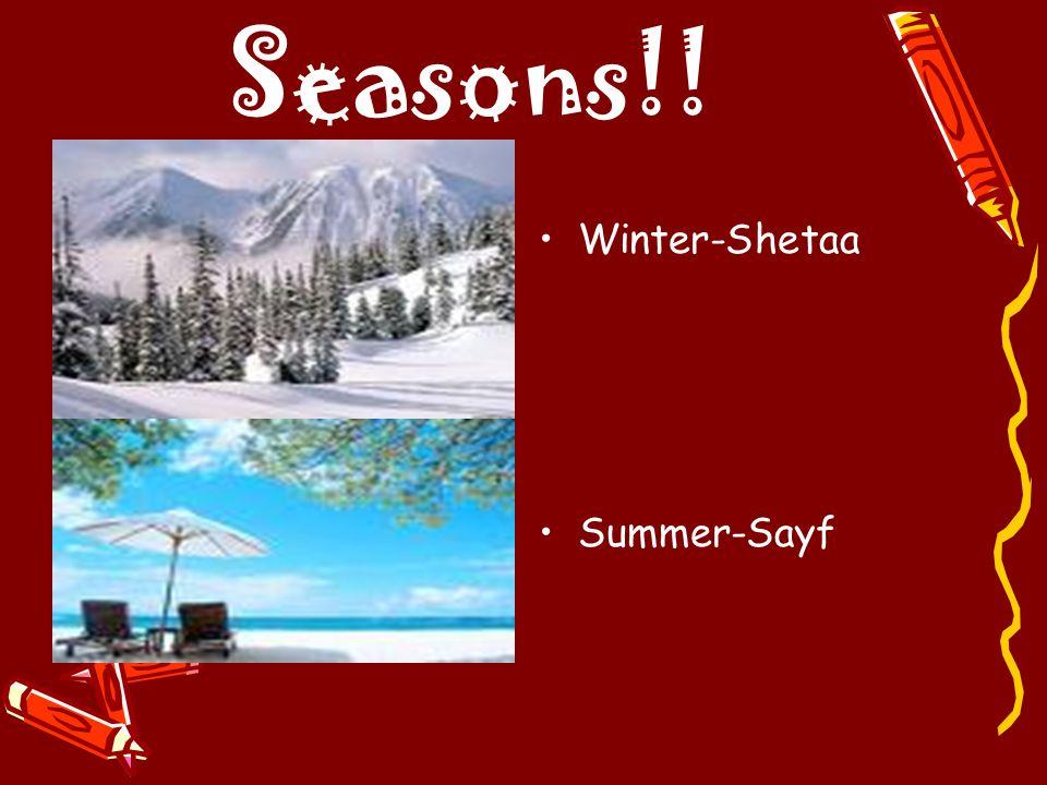 Seasons!! Winter-Shetaa Summer-Sayf