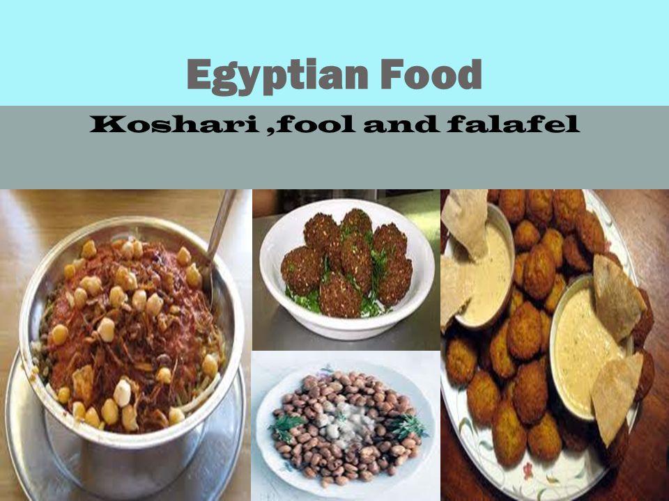 Egyptian Food Koshari,fool and falafel