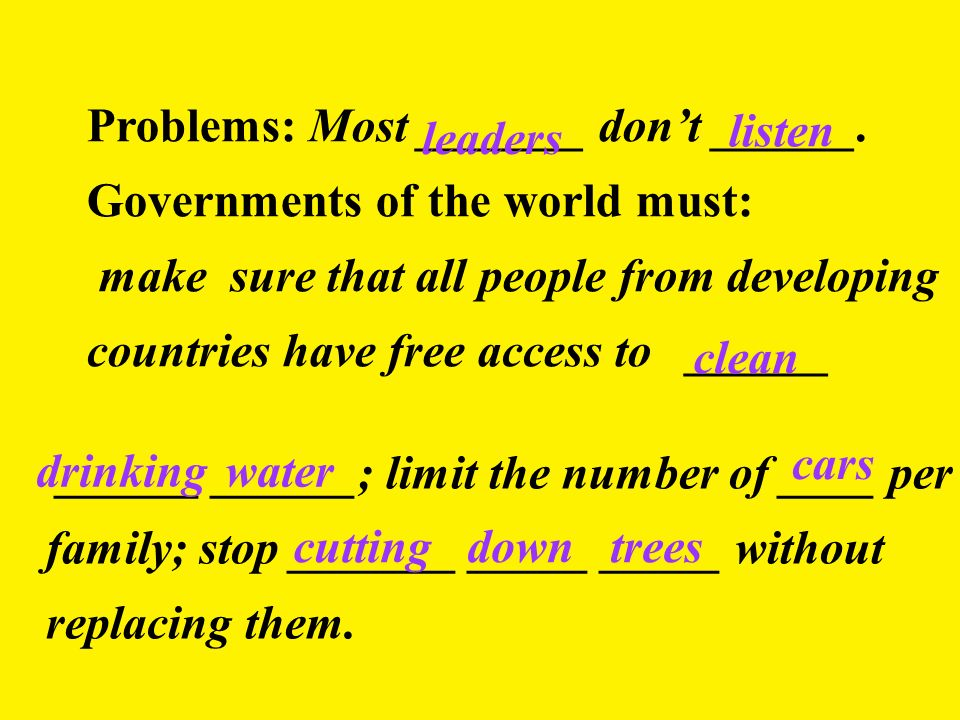 Problems: Most _______ dont ______. Governments of the world must: make sure that all people from developing countries have free access to ______ lead
