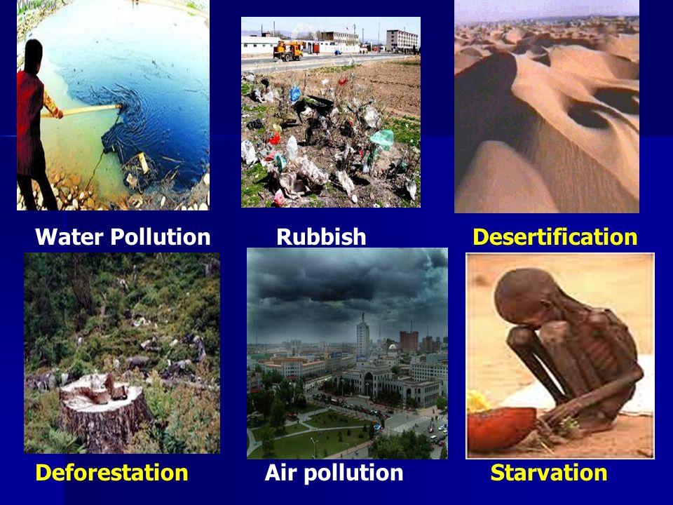 Water PollutionRubbishDesertification DeforestationAir pollution Starvation