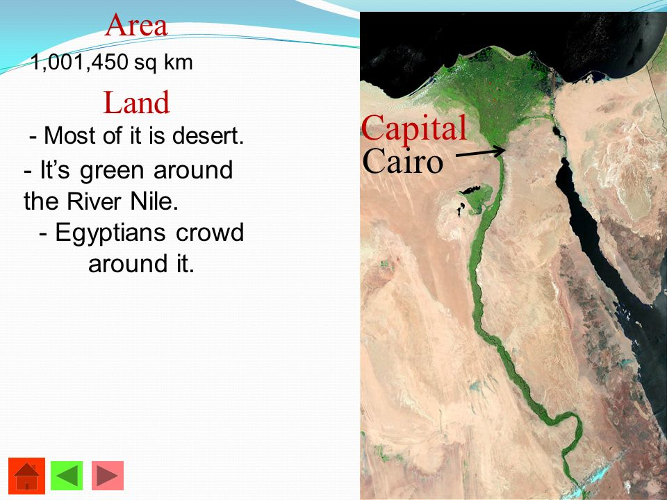 Area 1,001,450 sq km Land - Most of it is desert. - Its green around the River Nile. - Egyptians crowd around it. Cairo Capital