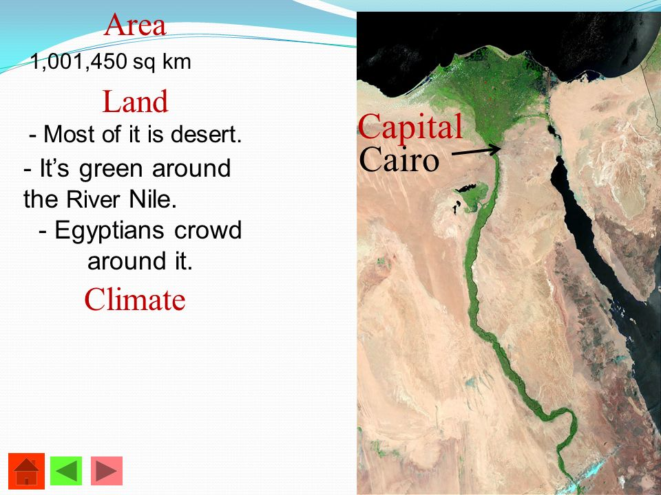 Area 1,001,450 sq km Land - Most of it is desert. - Its green around the River Nile. - Egyptians crowd around it. Climate Cairo Capital