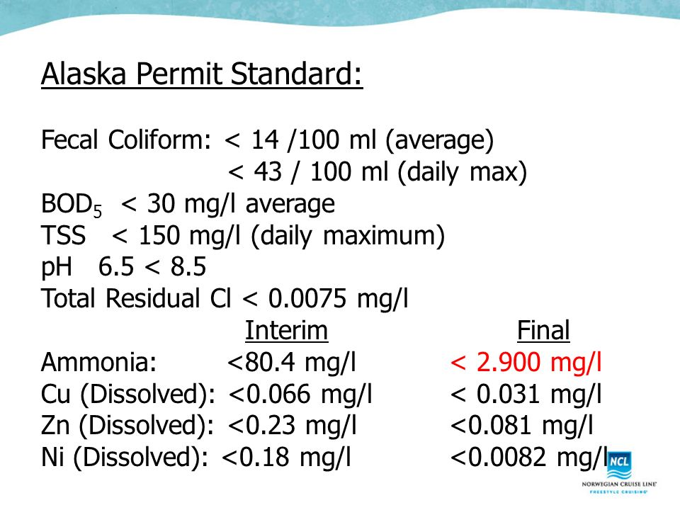 Alaska Permit Standard: Fecal Coliform: < 14 /100 ml (average) < 43 / 100 ml (daily max) BOD 5 < 30 mg/l average TSS < 150 mg/l (daily maximum) pH 6.5 < 8.5 Total Residual Cl < 0.0075 mg/l InterimFinal Ammonia: <80.4 mg/l< 2.900 mg/l Cu (Dissolved): <0.066 mg/l< 0.031 mg/l Zn (Dissolved): <0.23 mg/l<0.081 mg/l Ni (Dissolved): <0.18 mg/l<0.0082 mg/l