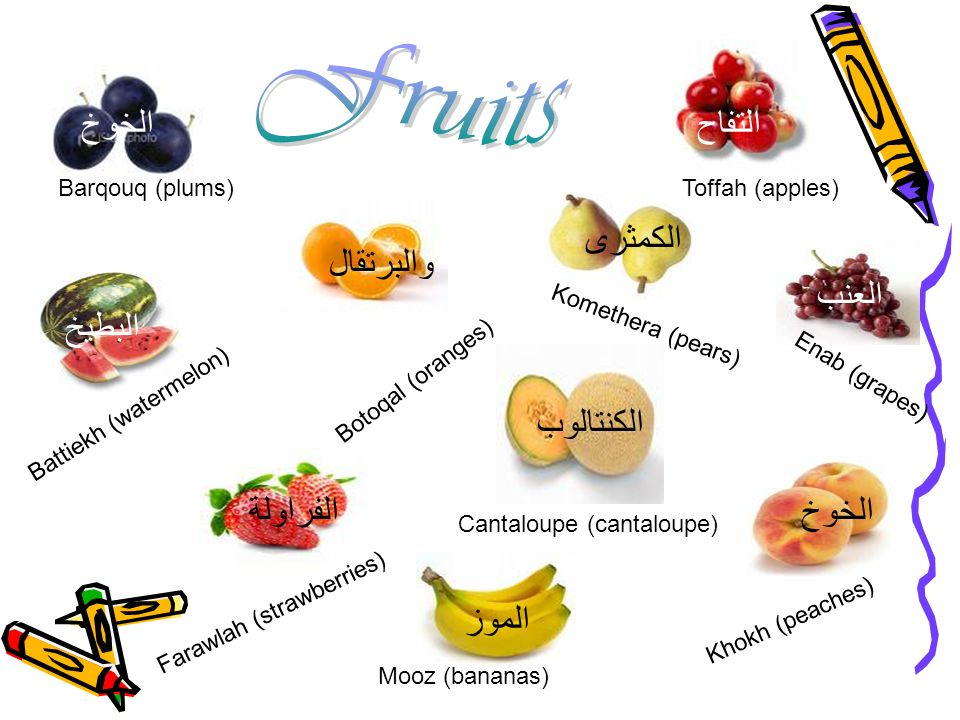 Barqouq (plums) Battiekh (watermelon) Botoqal (oranges) Toffah (apples) Komethera (pears) Farawlah (strawberries) Mooz (bananas) Cantaloupe (cantaloup