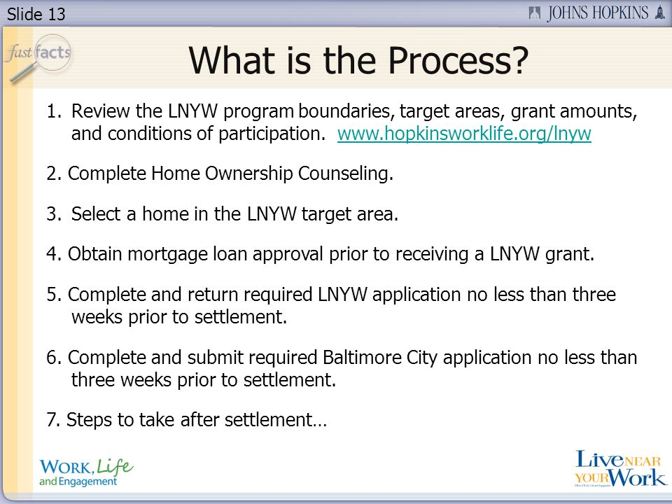 Slide 13 What is the Process? 1.Review the LNYW program boundaries, target areas, grant amounts, and conditions of participation. www.hopkinsworklife.