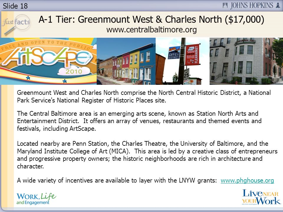Slide 18 Greenmount West and Charles North comprise the North Central Historic District, a National Park Service's National Register of Historic Place
