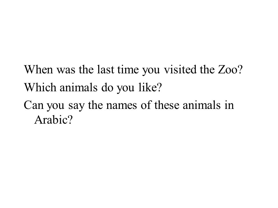 When was the last time you visited the Zoo. Which animals do you like.