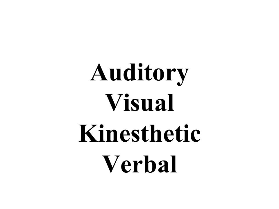 Auditory Visual Kinesthetic Verbal