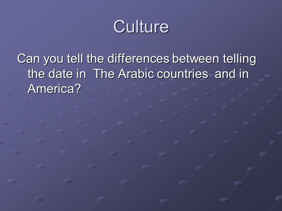 Culture Can you tell the differences between telling the date in The Arabic countries and in America