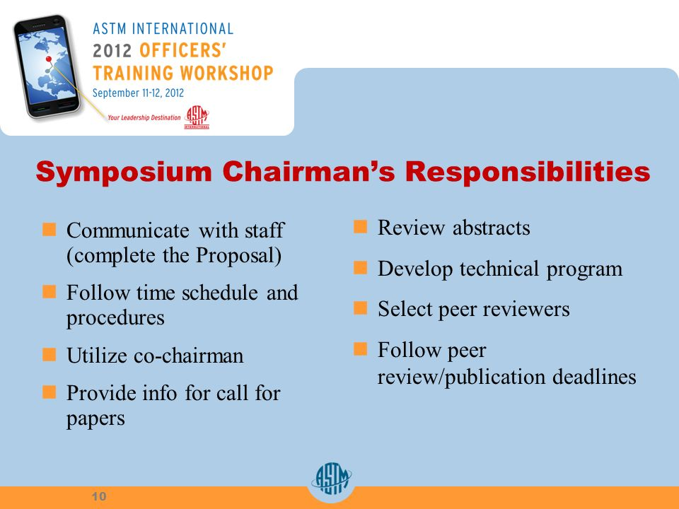 Symposium Chairmans Responsibilities Communicate with staff (complete the Proposal) Follow time schedule and procedures Utilize co-chairman Provide in