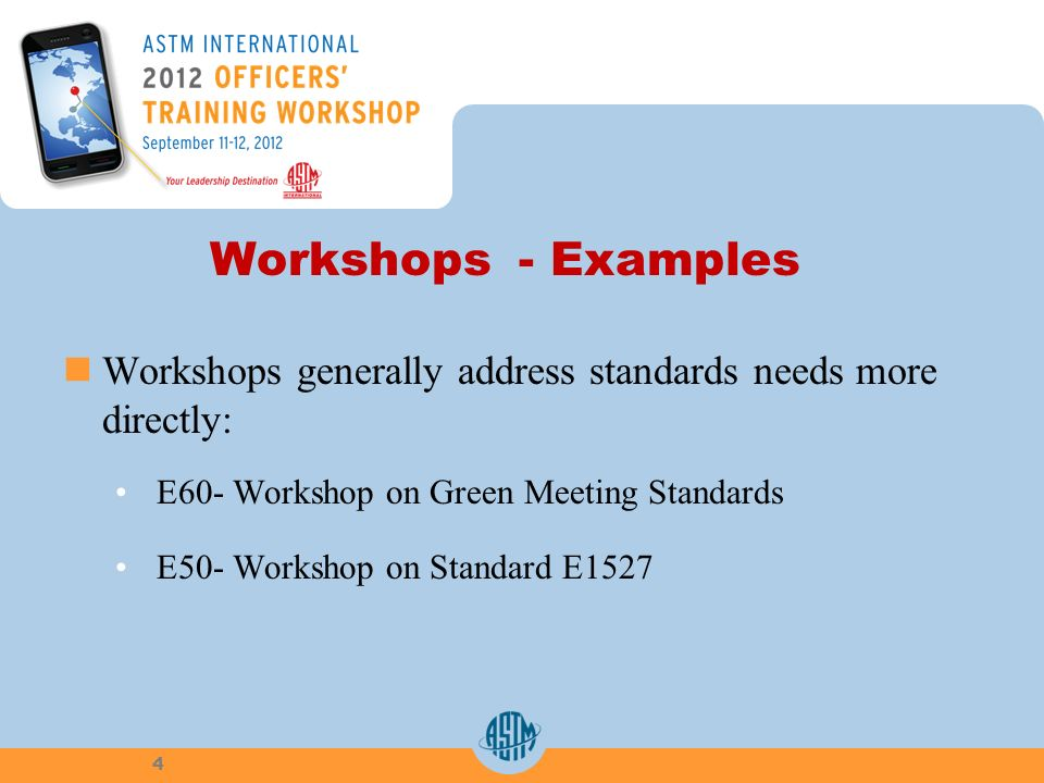 Workshops - Examples Workshops generally address standards needs more directly: E60- Workshop on Green Meeting Standards E50- Workshop on Standard E15