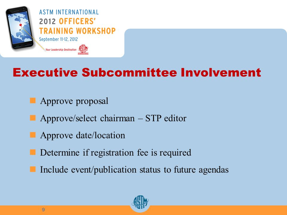 Executive Subcommittee Involvement Approve proposal Approve/select chairman – STP editor Approve date/location Determine if registration fee is required Include event/publication status to future agendas 9