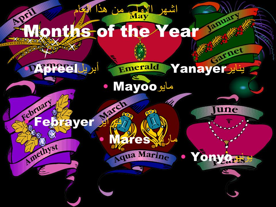 Months of the Year Apreel أبريل Yanayer يناير Mayoo مايو Febrayer فبراير Mares مارس Yonyo يونيو اشهر الاولى من هذا العام