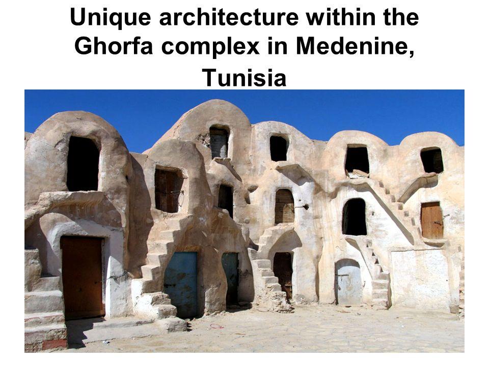 Unique architecture within the Ghorfa complex in Medenine, Tunisia