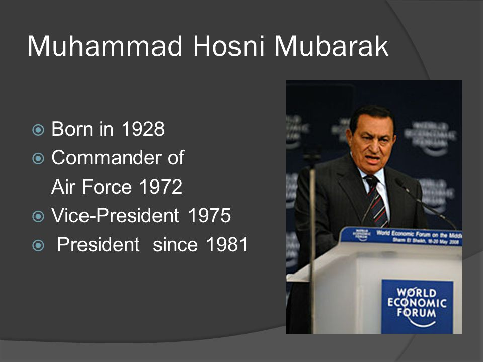Muhammad Hosni Mubarak Born in 1928 Commander of Air Force 1972 Vice-President 1975 President since 1981