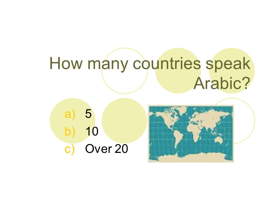Arabic is spoken in 22 countries! How many can you name? Egypt….