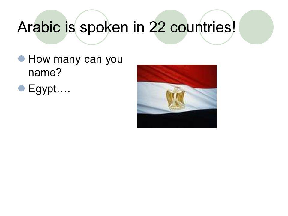 Arabic is spoken in all of these countries: Egypt Bahrain Algeria Morocco Oman Kuwait Syria Qatar Jordan Saudi Arabia Iraq Palestine Tunisia Lebanon Libya Yemen Tunisia Mauritania Sudan Djibouti Somalia Chad