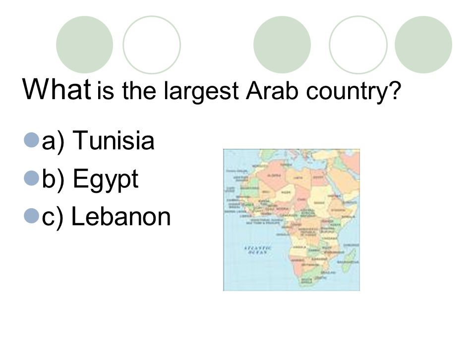 What is the largest Arab country a) Tunisia b) Egypt c) Lebanon