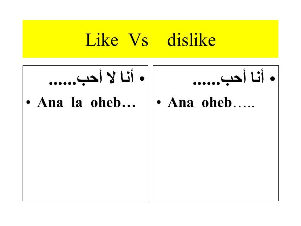 Like Vs dislike أنا لا أحب...... Ana la oheb… أنا أحب...... Ana oheb…..