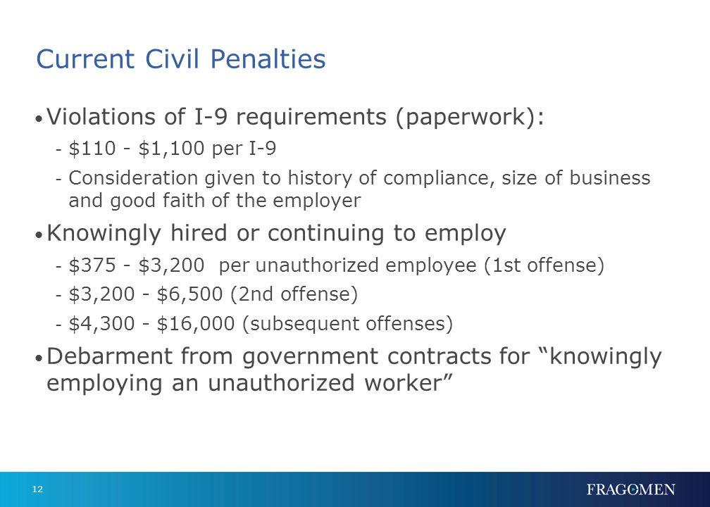 11 Why Compliance Matters Its the law! Civil penalties Criminal penalties Negative PR E-Verify participation 3-part compliance strategy - I-9 Training