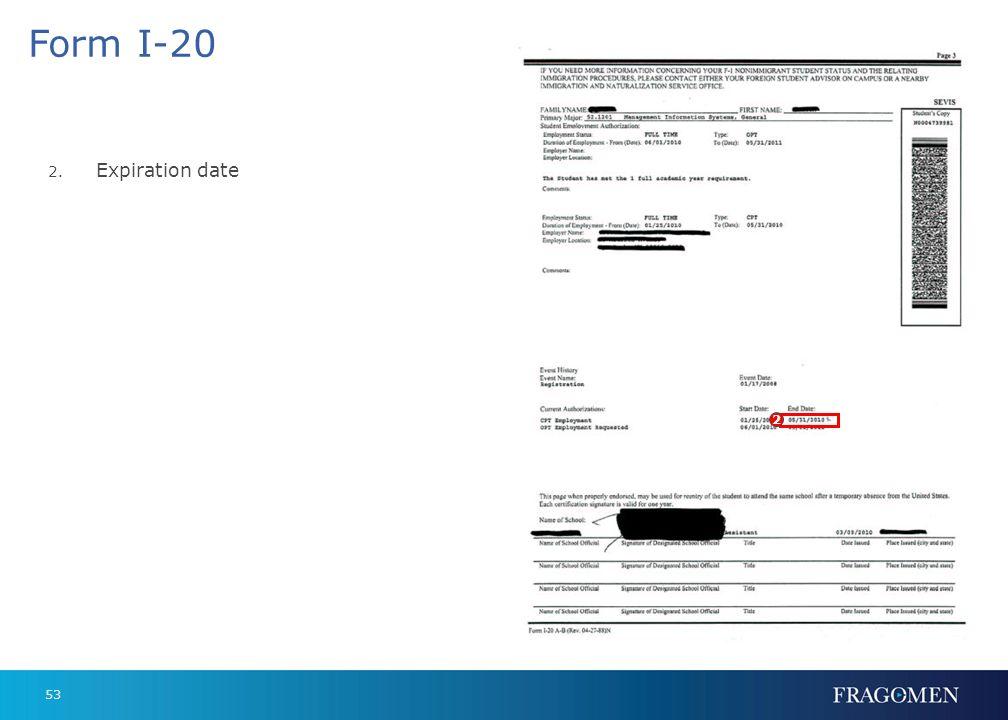 52 Form I-20 1. Document number 1