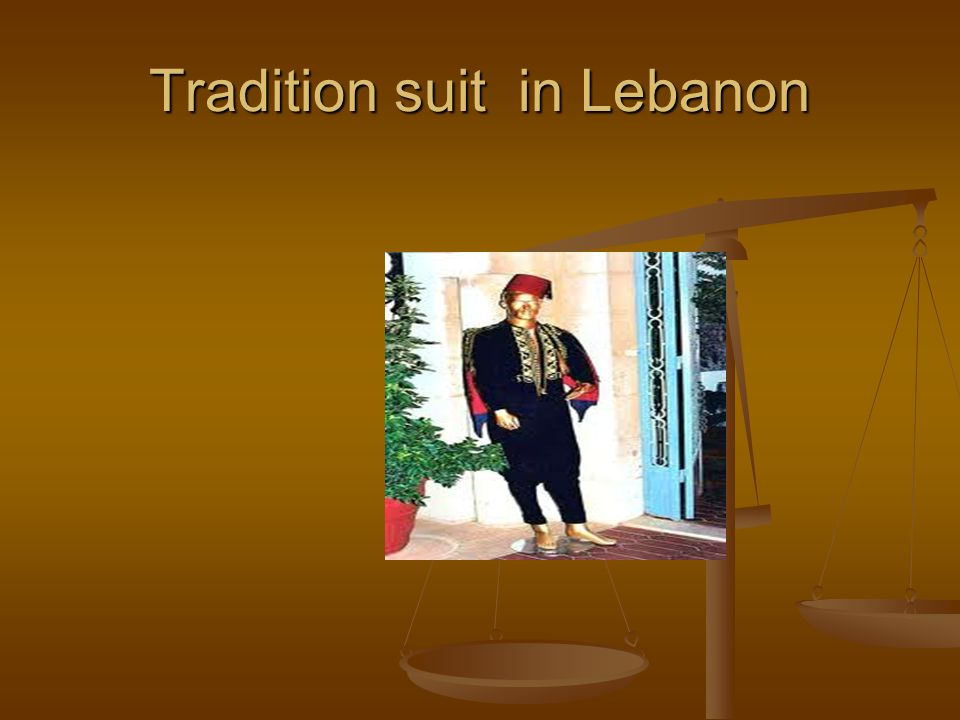 Tradition suit in Lebanon