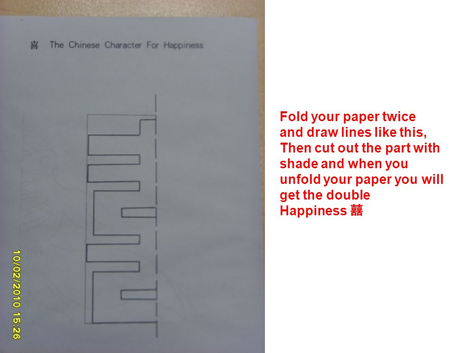 Fold your paper twice and draw lines like this, Then cut out the part with shade and when you unfold your paper you will get the double Happiness