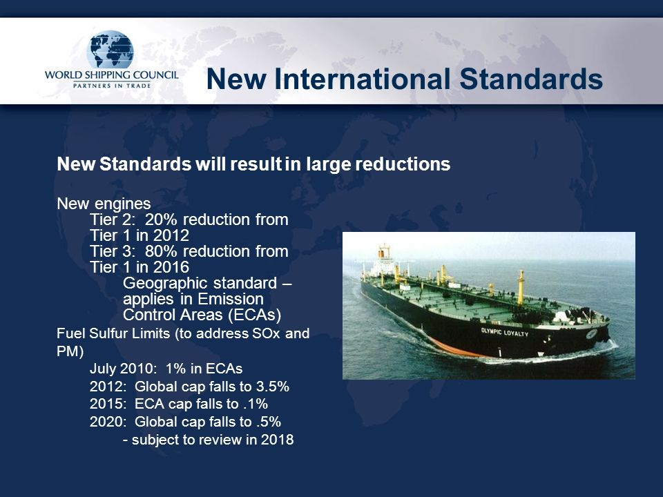 New International Standards New engines Tier 2: 20% reduction from Tier 1 in 2012 Tier 3: 80% reduction from Tier 1 in 2016 Geographic standard – applies in Emission Control Areas (ECAs) Fuel Sulfur Limits (to address SOx and PM) July 2010: 1% in ECAs 2012: Global cap falls to 3.5% 2015: ECA cap falls to.1% 2020: Global cap falls to.5% - subject to review in 2018 New Standards will result in large reductions