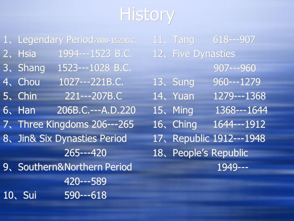 History 1 Legendary Period 7000-1523B.C. 2 Hsia 1994---1523 B.C. 3 Shang 1523---1028 B.C. 4 Chou 1027---221B.C. 5 Chin 221---207B.C 6 Han 206B.C.---A.