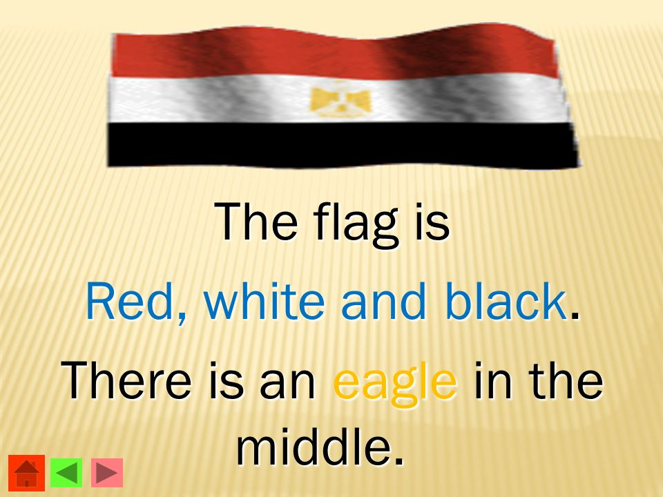 The flag is Red, white and black. There is an eagle in the middle.