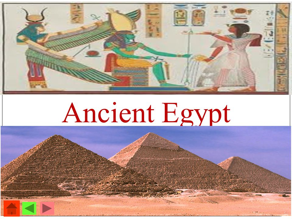 Ancient Egypt - Its green around the River Nile. - Egyptians crowd around it.