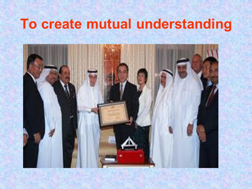 To create mutual understanding
