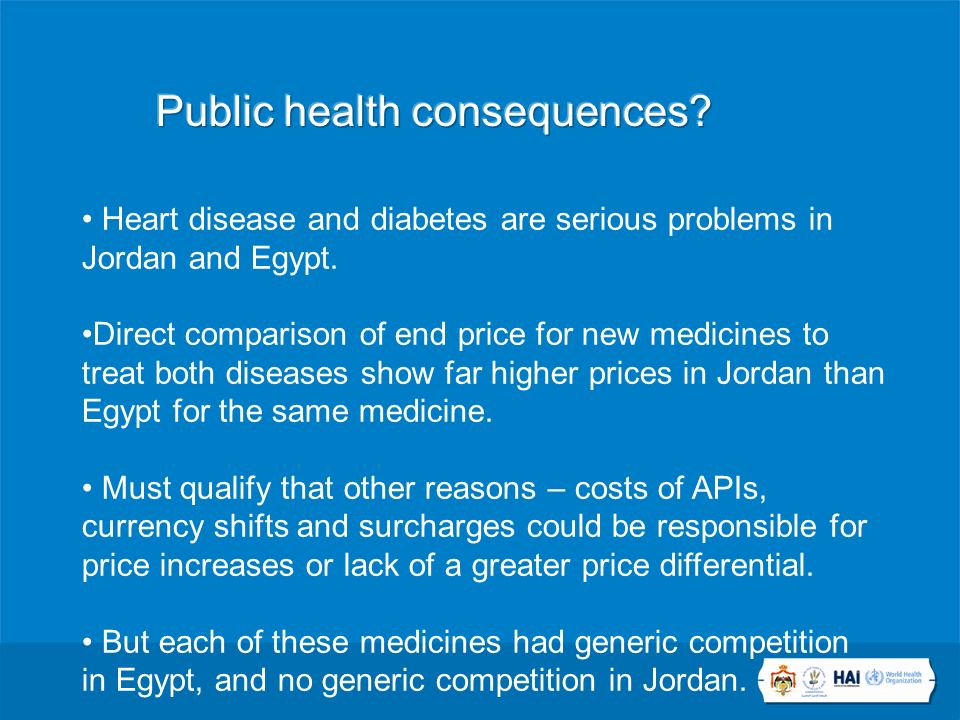 Heart disease and diabetes are serious problems in Jordan and Egypt.