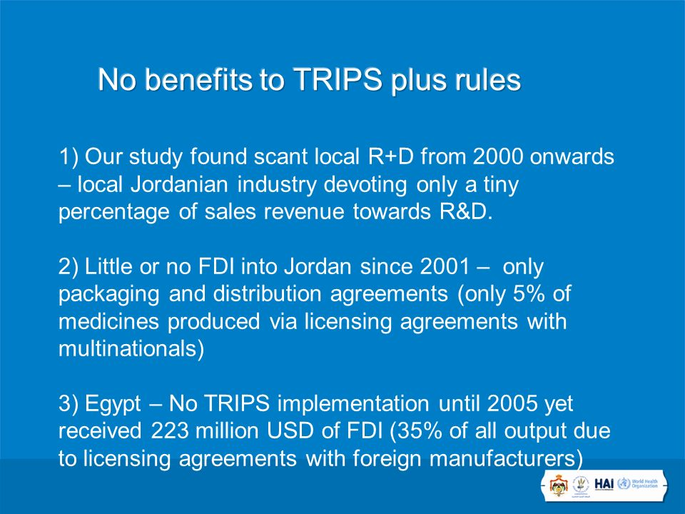 1) Our study found scant local R+D from 2000 onwards – local Jordanian industry devoting only a tiny percentage of sales revenue towards R&D.