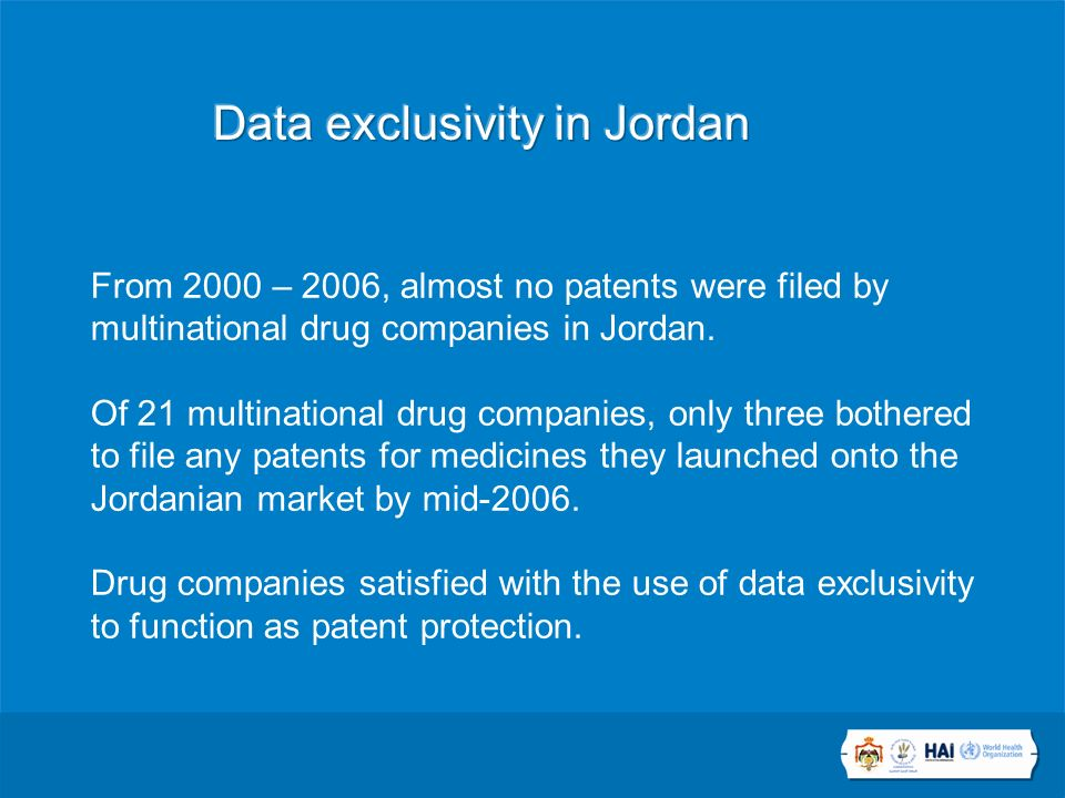 From 2000 – 2006, almost no patents were filed by multinational drug companies in Jordan.
