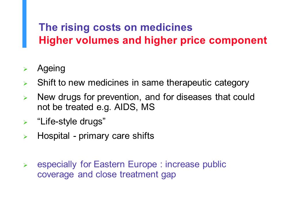 The rising costs on medicines Higher volumes and higher price component Ageing Shift to new medicines in same therapeutic category New drugs for prevention, and for diseases that could not be treated e.g.