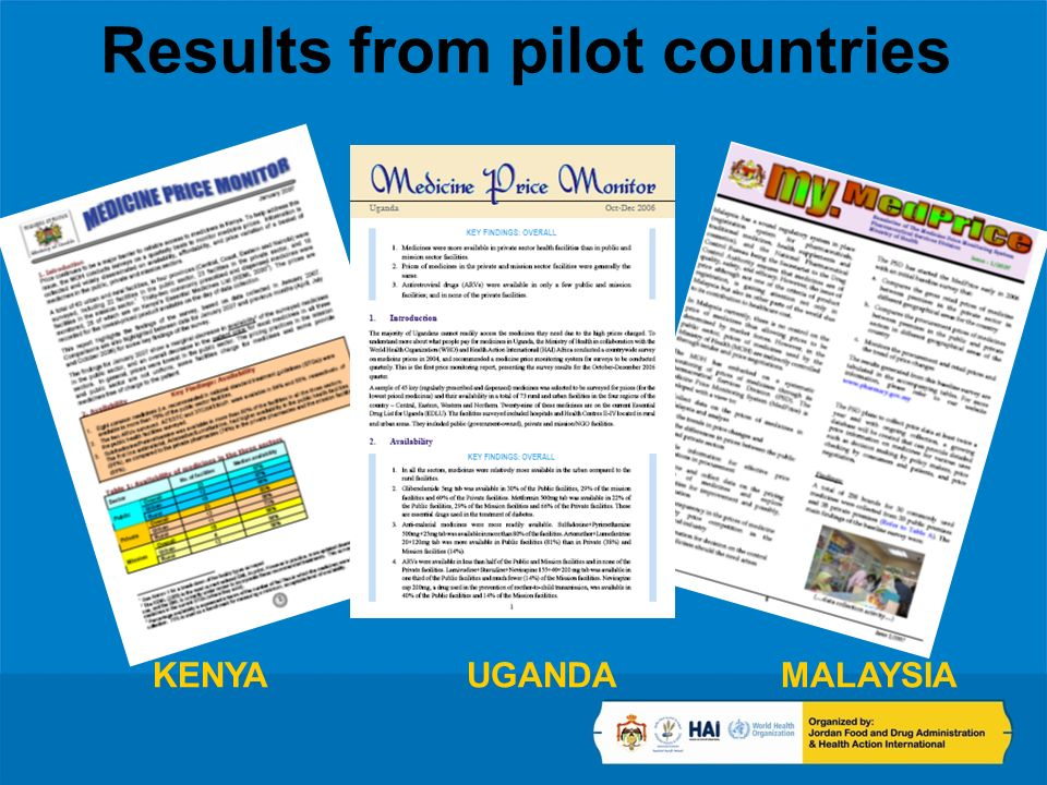 Results from pilot countries KENYA UGANDAMALAYSIA