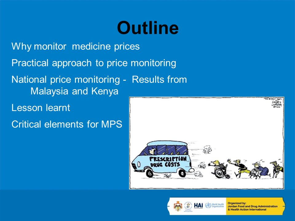 Outline Why monitor medicine prices Practical approach to price monitoring National price monitoring - Results from Malaysia and Kenya Lesson learnt C