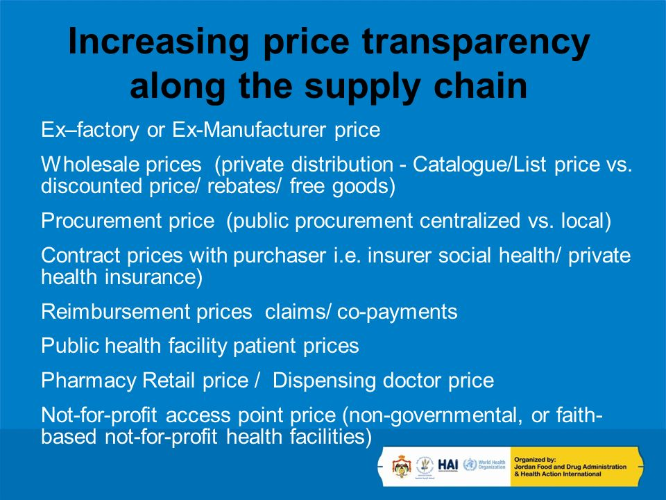 Increasing price transparency along the supply chain Ex–factory or Ex-Manufacturer price Wholesale prices (private distribution - Catalogue/List price