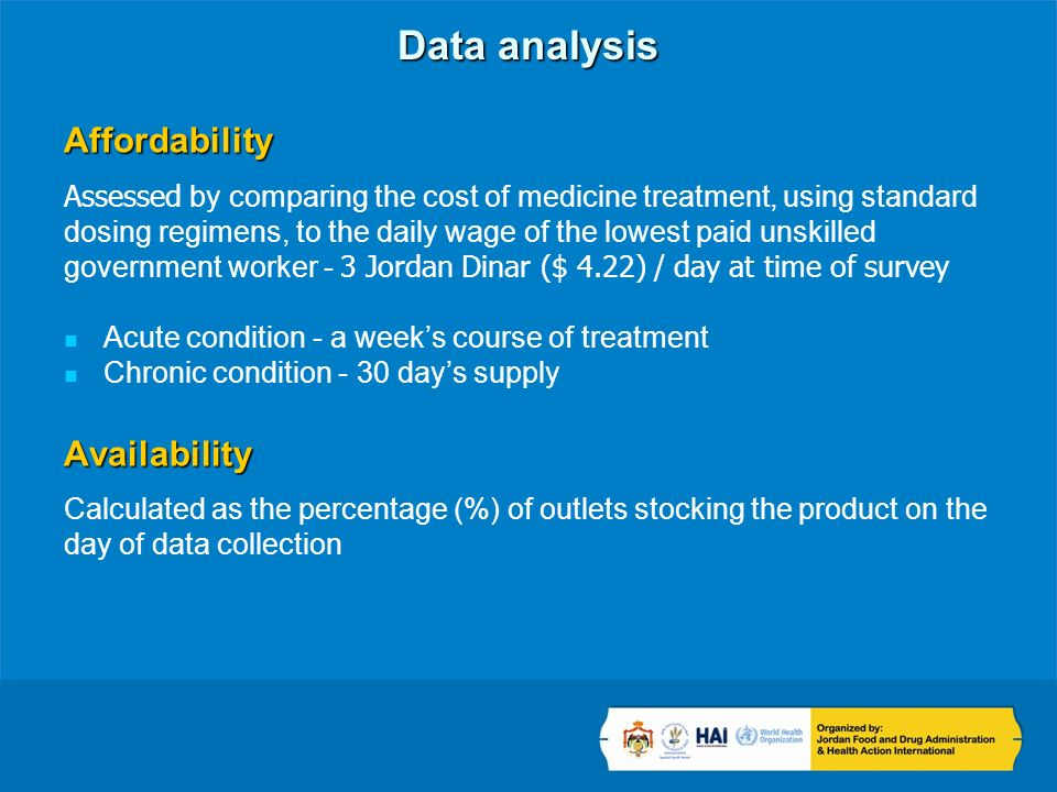 Data analysis Affordability Assessed by comparing the cost of medicine treatment, using standard dosing regimens, to the daily wage of the lowest paid unskilled government worker - 3 Jordan Dinar ($ 4.22) / day at time of survey Acute condition - a weeks course of treatment Chronic condition - 30 days supplyAvailability Calculated as the percentage (%) of outlets stocking the product on the day of data collection