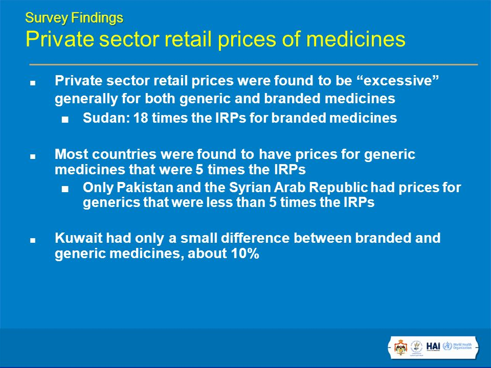 Private sector retail prices were found to be excessive generally for both generic and branded medicines Sudan: 18 times the IRPs for branded medicines Most countries were found to have prices for generic medicines that were 5 times the IRPs Only Pakistan and the Syrian Arab Republic had prices for generics that were less than 5 times the IRPs Kuwait had only a small difference between branded and generic medicines, about 10%