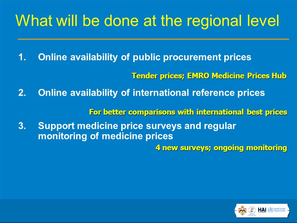 What will be done at the regional level 1.Online availability of public procurement prices 2.Online availability of international reference prices 3.Support medicine price surveys and regular monitoring of medicine prices Tender prices; EMRO Medicine Prices Hub For better comparisons with international best prices 4 new surveys; ongoing monitoring