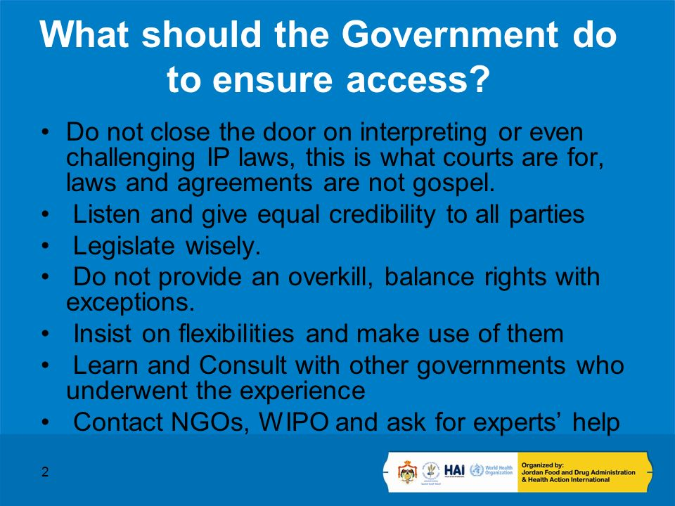 2 What should the Government do to ensure access.
