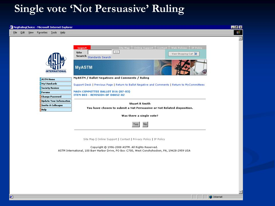 Single vote Not Persuasive Ruling