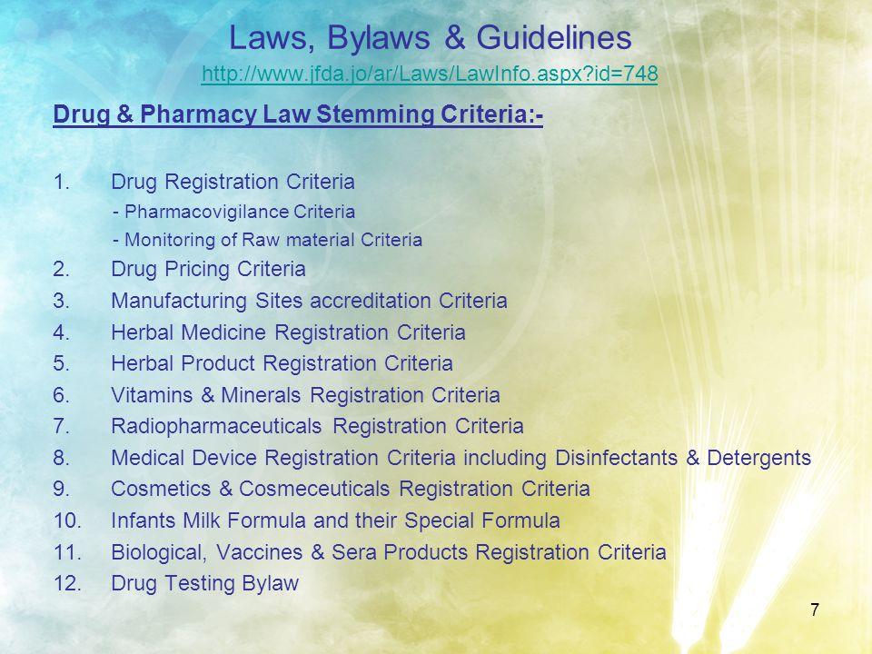 7 Laws, Bylaws & Guidelines http://www.jfda.jo/ar/Laws/LawInfo.aspx?id=748 http://www.jfda.jo/ar/Laws/LawInfo.aspx?id=748 Drug & Pharmacy Law Stemming
