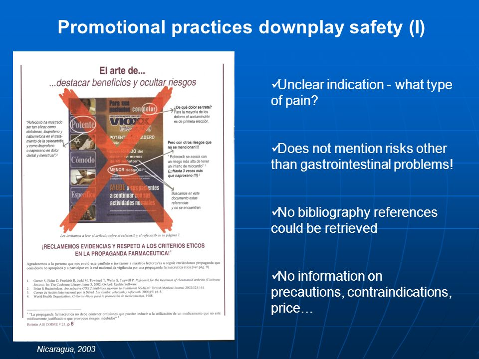Promotional practices downplay safety (II) No indication mentioned No active ingredient mentioned Medicine approved for hormone replacement therapy but promoted for weight control and skin improvement No information on precautions, contraindications, price… Costa Rica, 2007