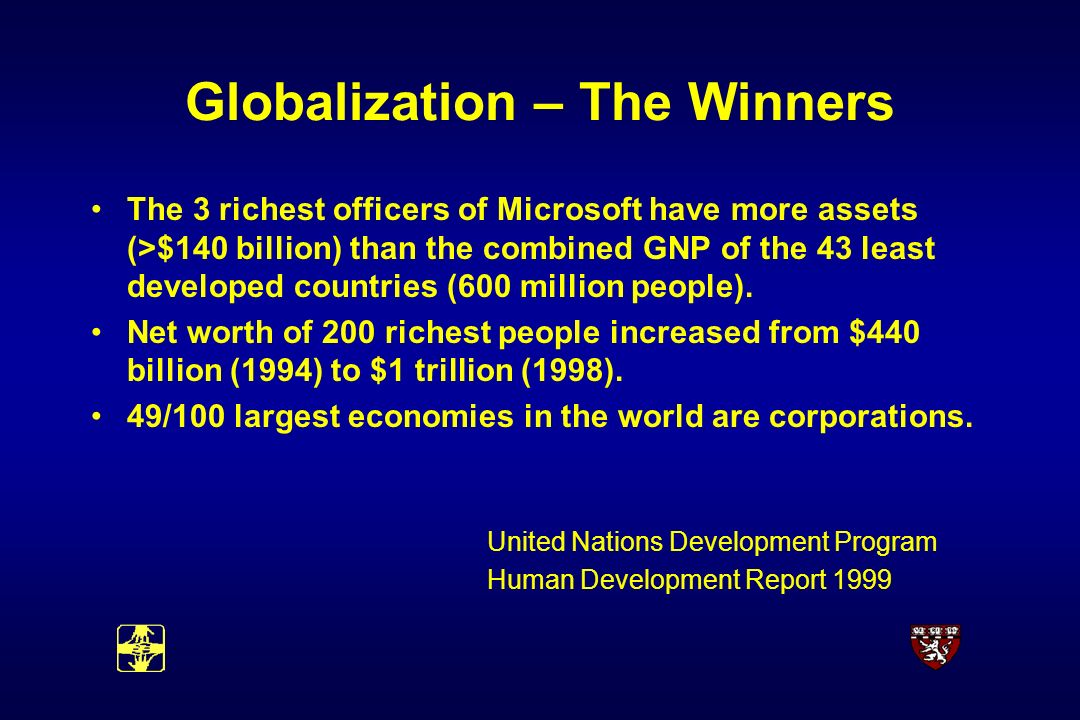 Globalization – The Winners The 3 richest officers of Microsoft have more assets (>$140 billion) than the combined GNP of the 43 least developed countries (600 million people).