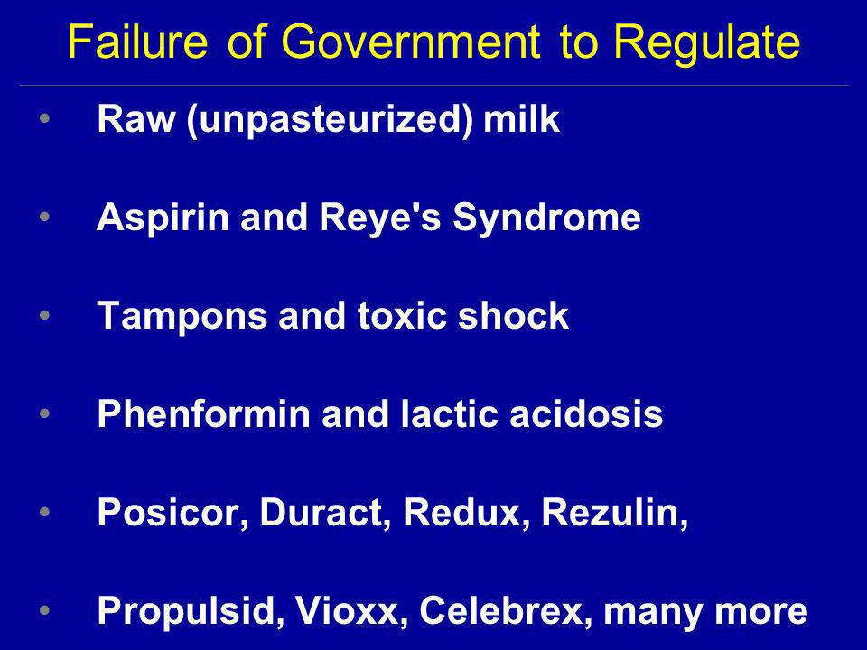 Failure of Government to Regulate Raw (unpasteurized) milk Aspirin and Reye s Syndrome Tampons and toxic shock Phenformin and lactic acidosis Posicor, Duract, Redux, Rezulin, Propulsid, Vioxx, Celebrex, many more
