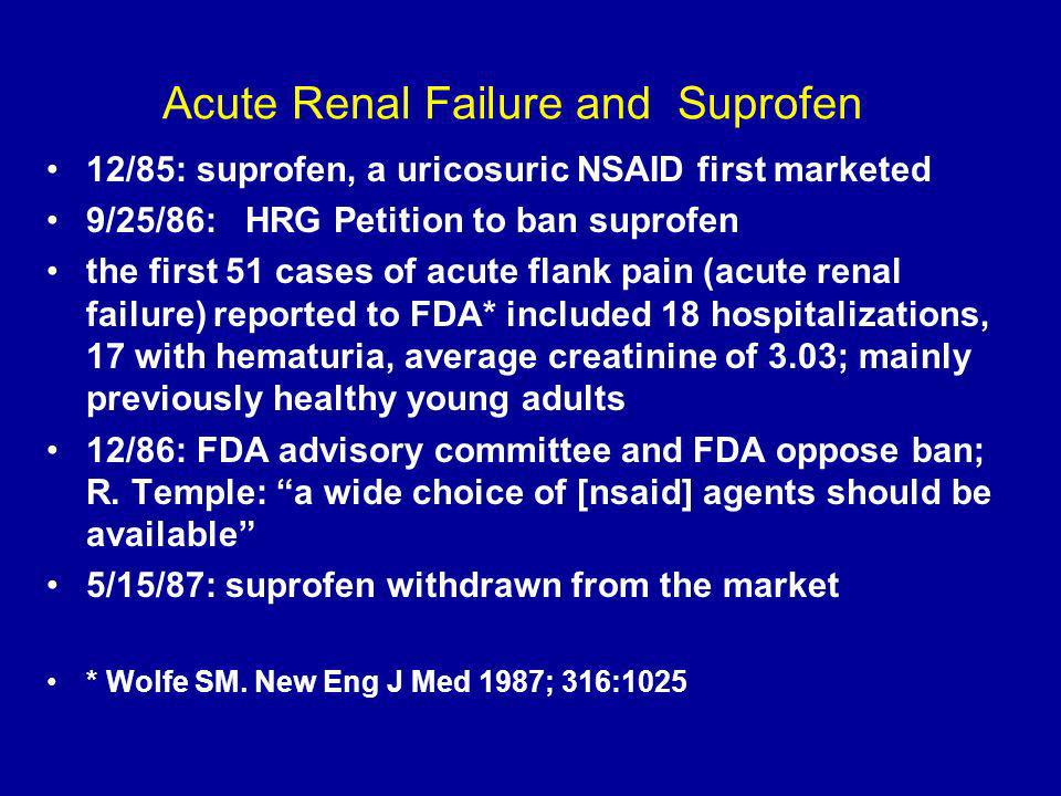 Acute Renal Failure and Suprofen 12/85: suprofen, a uricosuric NSAID first marketed 9/25/86: HRG Petition to ban suprofen the first 51 cases of acute flank pain (acute renal failure) reported to FDA* included 18 hospitalizations, 17 with hematuria, average creatinine of 3.03; mainly previously healthy young adults 12/86: FDA advisory committee and FDA oppose ban; R.