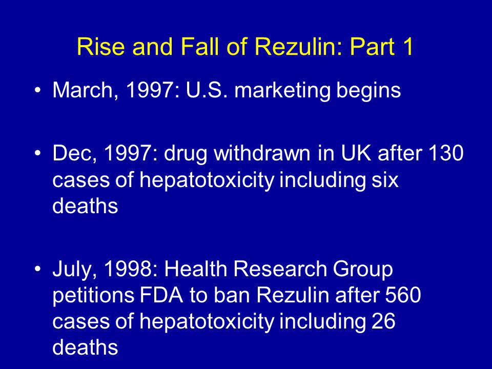 Rise and Fall of Rezulin: Part 1 March, 1997: U.S.